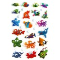 STICKERS COOKY ANIMAUX SACHET 8 PLANCHES 192 GOMMETTES 7,5 X 12CM, ASSORTIMENT N°2
