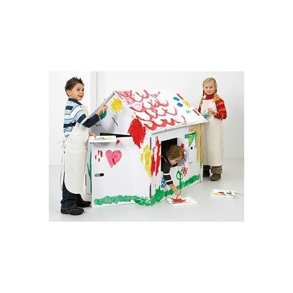Maison en carton geante colorier les cabanes devan for Maison en carton a colorier