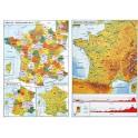 LA FRANCE CARTE MURALE PHYSIQUE - ADMINISTRATIVE