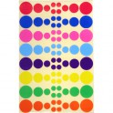 GOMMETTES RONDES 8 PLANCHES - 640 GOMM. 4 TAILLES - 8 COULEURS ASSORTIES