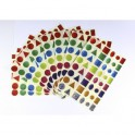 GOMMETTES GEOMETRIQUES HOLOGRAMMES 30 PLANCHES - 1440 GOMM. 6 FORMES-8 COULEURS ASSORTIES