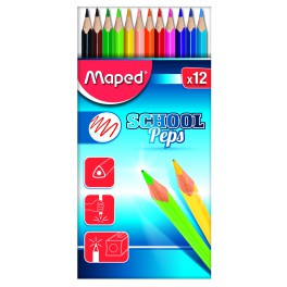 MAPED SCHOOL PEP'S ÉTUI 12 COULEURS ASSORTIS
