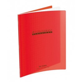 CAHIER 17X22 32P POLYPRO ROUGE 90G SEYES