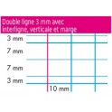 CAHIER 90G 32 PAGES DOUBLE LIGNE 3mm 17X22
