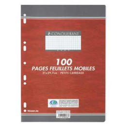 FEUILLETS MOBILES 21X29.7 5X5 90G BLANC 100 P