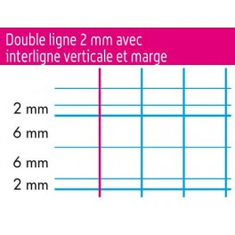 CAHIER 90G 32 PAGES DOUBLE LIGNE 2mm 17X22