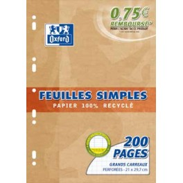 FEUILL. MOB. BLC OXFORD A4 90GR RECYCLE SEY. 200 P.