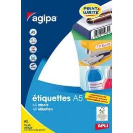 ETIQUETTES BLANCHES ENLEVABLES 19X38MM POCHETTE A5 DE 300