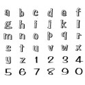 TIMBRES DECORATIFS alphabet et chiffres minuscules coffret 36