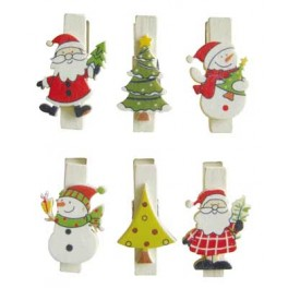 PINCES A LINGE MAGNETS DECOR NOEL LOT DE 6 ASS