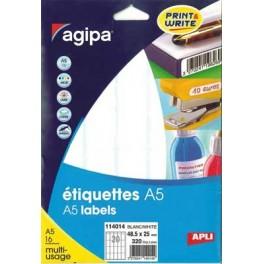 ÉTIQUETTES BLANCHES 19X38 MM - POCHETTE A5 DE 480