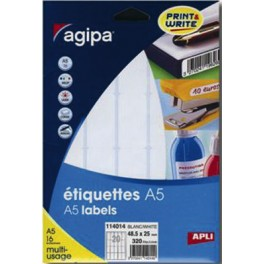 ÉTIQUETTES BLANCHES 38,5X65 mm - POCHETTE A5 DE 160