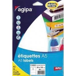 ÉTIQUETTES BLANCHES 64X133 mm - POCHETTE A5 DE 48