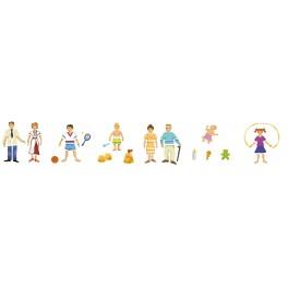 """POCHOIRS plastique thème """"FAMILLE"""" lot de 6 assortis"""