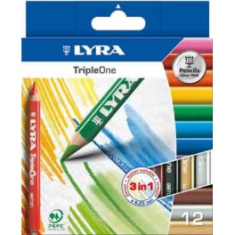 LYRA TRIPLE ONE ÉTUI 12 CRAYONS COULEURS ASSORTIS