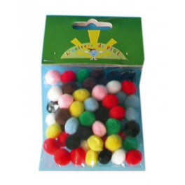POMPONS 10MM LOT DE 65 COULEURS ASSORTIES