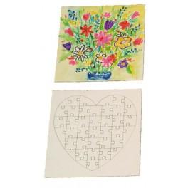PUZZLE A DECORER cœur en carton 40 pièces 140x140mm