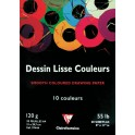 BLOC DESSIN LISSE 21X29,7 - 120 GR20 FEUILLES COULEURS ASSORTIES