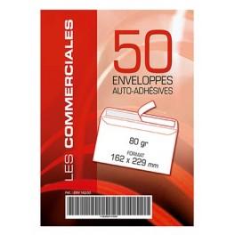 PQT 50 ENVELOPPES 162X229 AUTOC+BDE BLANC
