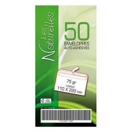 ENVELOPPES BLANCHES 110X220 mm PAQUET DE 50