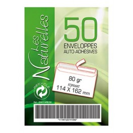 ENVELOPPES 114X162 AUTO+BDE BLANC RECYCLE PQT 40