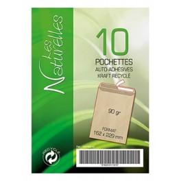 POCHETTES KRAFT 162X229 AUTO+BDE RECYCLEE PQT 10