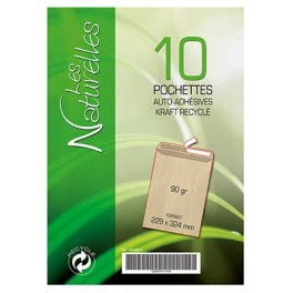 PQT 10 POCHETTES KRAFT 229X324 RECYCLEES